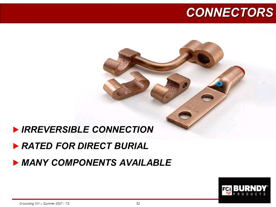 Grounding 101 – Summer 2007 - TS51 COMPONENTS OF HY-GROUND WHATS NEEDED Proper Connector Correct Crimping Tool Specified Die