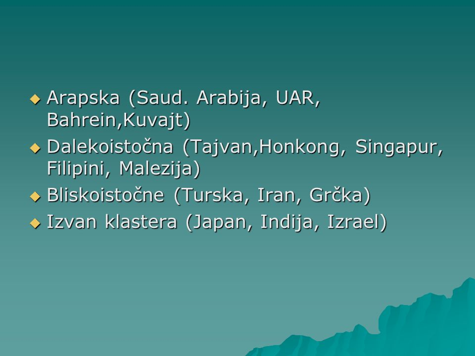 Arapska (Saud. Arabija, UAR, Bahrein,Kuvajt) Arapska (Saud. Arabija, UAR, Bahrein,Kuvajt) Dalekoistočna (Tajvan,Honkong, Singapur, Filipini, Malezija)