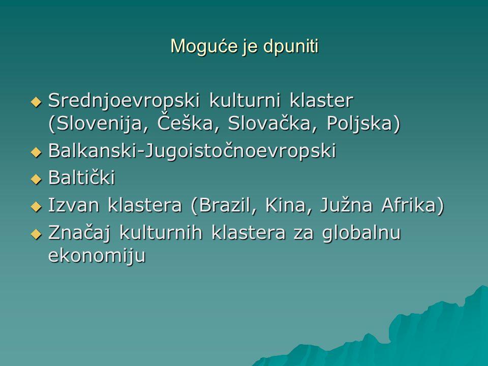 Moguće je dpuniti Srednjoevropski kulturni klaster (Slovenija, Češka, Slovačka, Poljska) Srednjoevropski kulturni klaster (Slovenija, Češka, Slovačka,