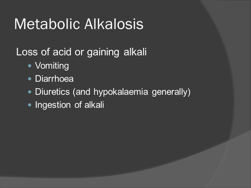 Metabolic Alkalosis Loss of acid or gaining alkali Vomiting Diarrhoea Diuretics (and hypokalaemia generally) Ingestion of alkali