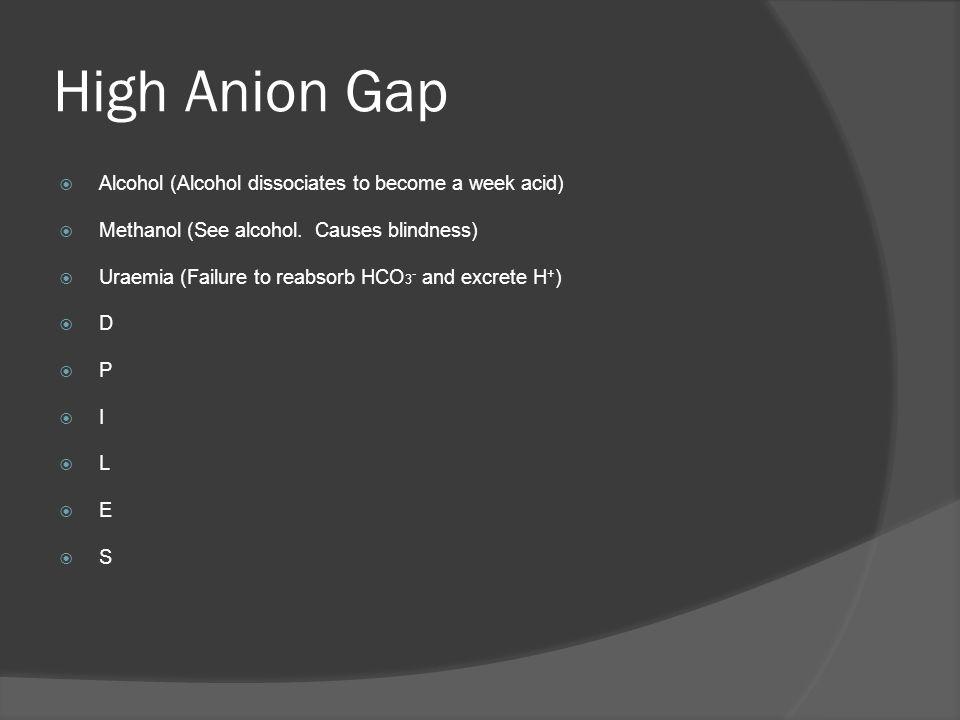 High Anion Gap Alcohol (Alcohol dissociates to become a week acid) Methanol (See alcohol. Causes blindness) Uraemia (Failure to reabsorb HCO 3 - and e