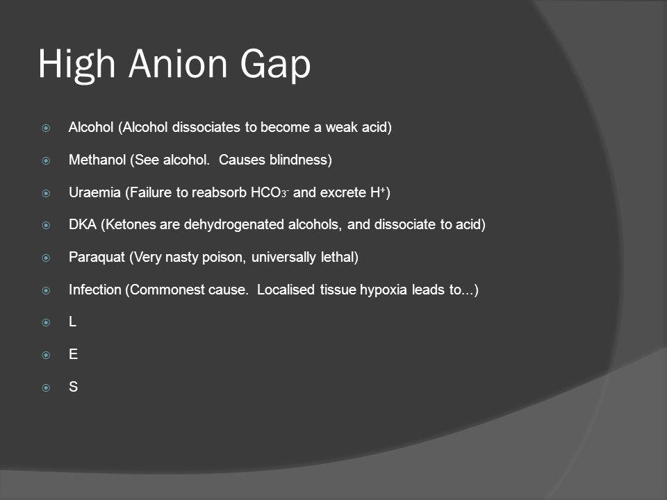 High Anion Gap Alcohol (Alcohol dissociates to become a weak acid) Methanol (See alcohol. Causes blindness) Uraemia (Failure to reabsorb HCO 3 - and e