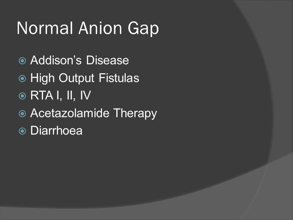 Normal Anion Gap Addisons Disease High Output Fistulas RTA I, II, IV Acetazolamide Therapy Diarrhoea