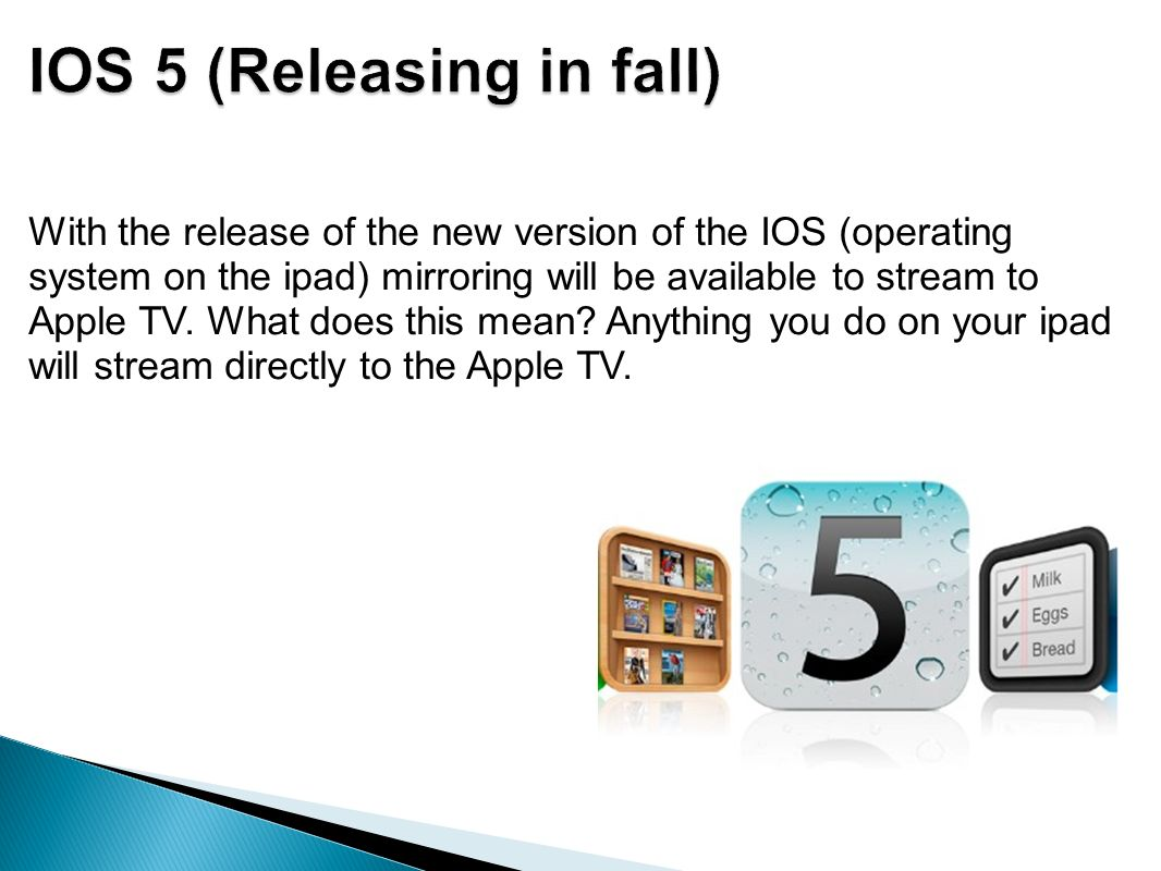 With the release of the new version of the IOS (operating system on the ipad) mirroring will be available to stream to Apple TV.
