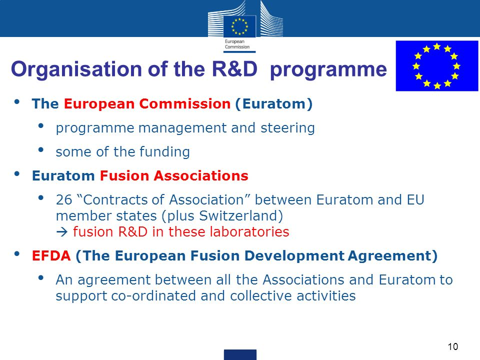 Organisation of the R&D programme The European Commission (Euratom) programme management and steering some of the funding Euratom Fusion Associations 26 Contracts of Association between Euratom and EU member states (plus Switzerland) fusion R&D in these laboratories EFDA (The European Fusion Development Agreement) An agreement between all the Associations and Euratom to support co-ordinated and collective activities 10