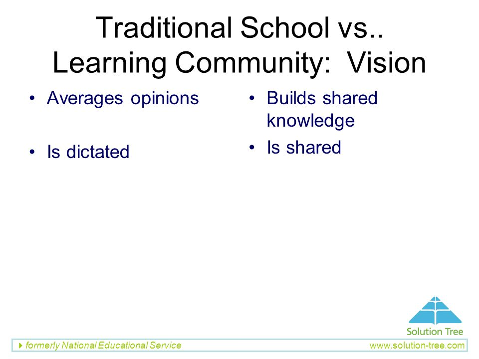 formerly National Educational Service www.solution-tree.com Traditional School vs.. Learning Community: Vision Averages opinions Is dictated Builds sh