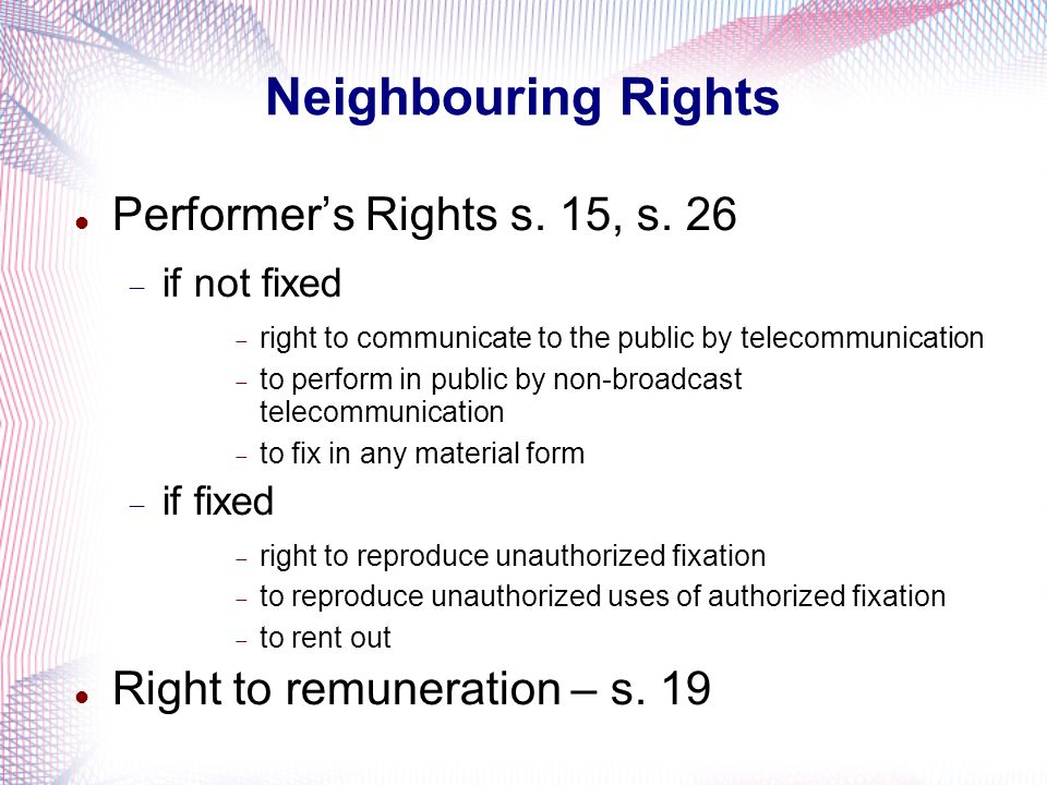 Performers Rights s.15, s.