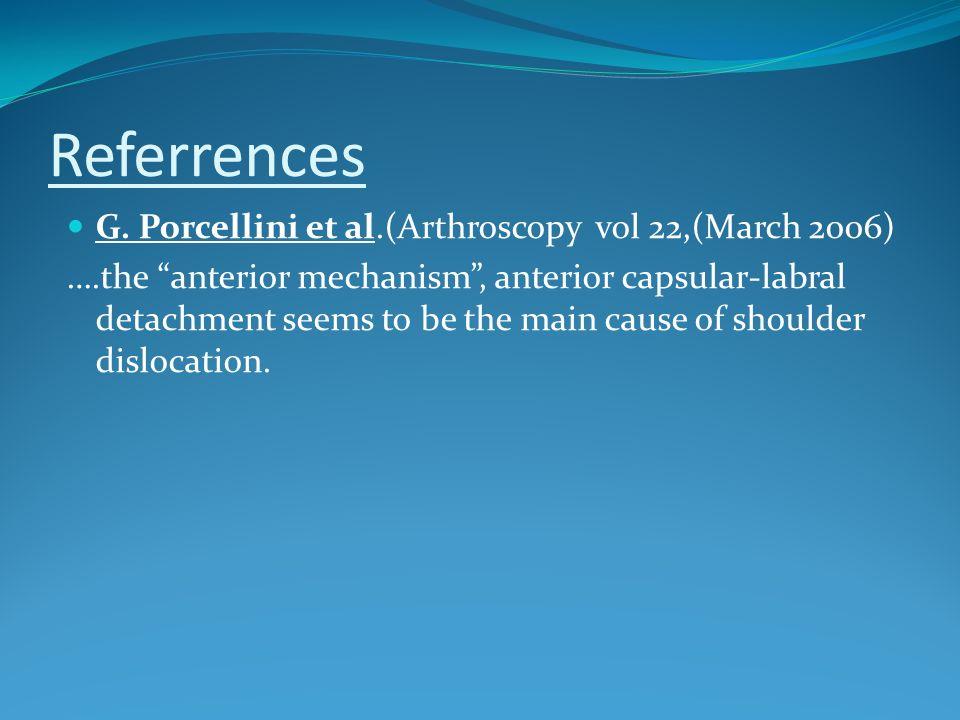 Referrences G. Porcellini et al.(Arthroscopy vol 22,(March 2006) ….the anterior mechanism, anterior capsular-labral detachment seems to be the main ca