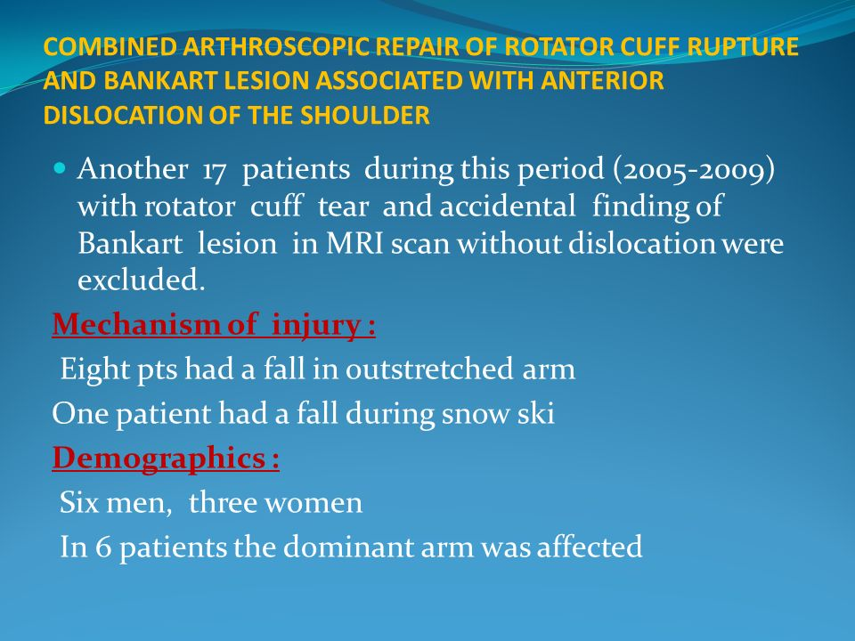 COMBINED ARTHROSCOPIC REPAIR OF ROTATOR CUFF RUPTURE AND BANKART LESION ASSOCIATED WITH ANTERIOR DISLOCATION OF THE SHOULDER Another 17 patients durin