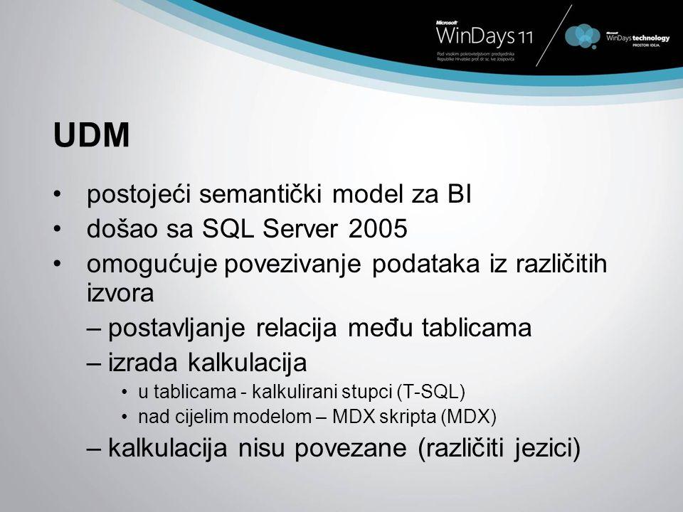 UDM postojeći semantički model za BI došao sa SQL Server 2005 omogućuje povezivanje podataka iz različitih izvora –postavljanje relacija među tablicam