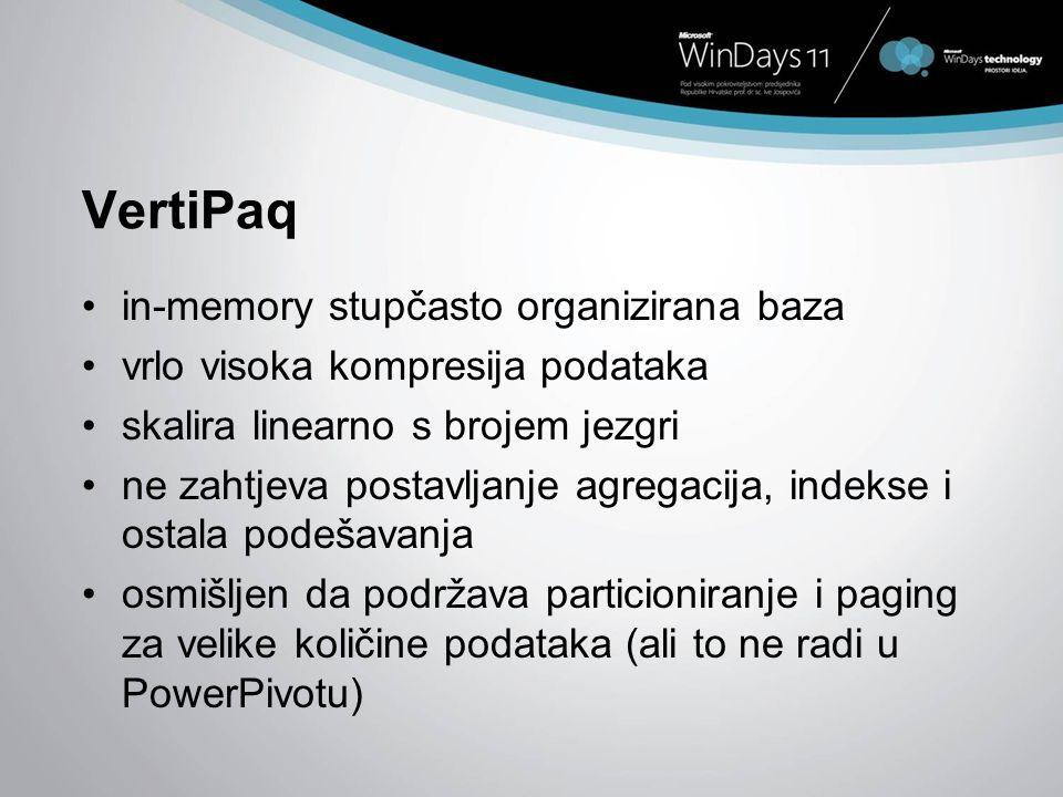 VertiPaq in-memory stupčasto organizirana baza vrlo visoka kompresija podataka skalira linearno s brojem jezgri ne zahtjeva postavljanje agregacija, i