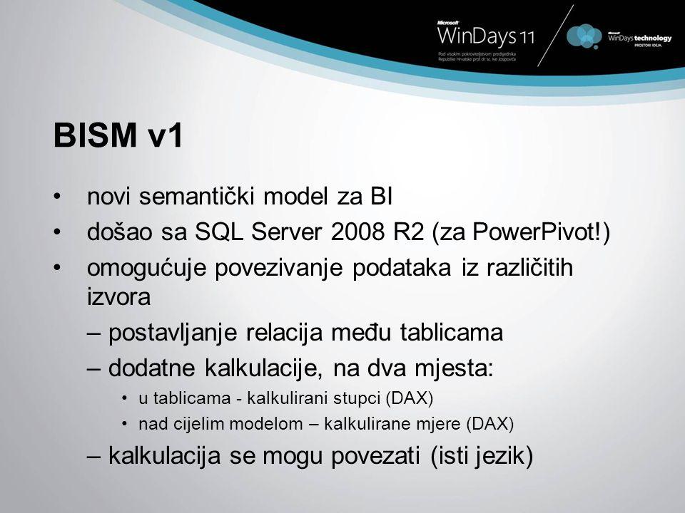 BISM v1 novi semantički model za BI došao sa SQL Server 2008 R2 (za PowerPivot!) omogućuje povezivanje podataka iz različitih izvora –postavljanje rel
