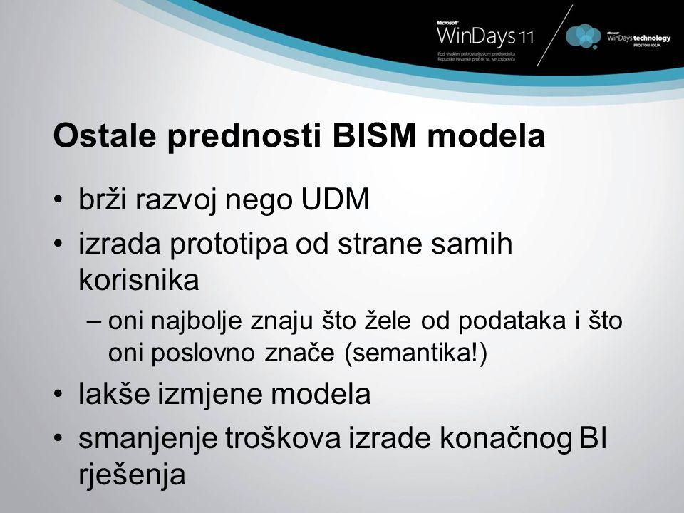 Ostale prednosti BISM modela brži razvoj nego UDM izrada prototipa od strane samih korisnika –oni najbolje znaju što žele od podataka i što oni poslov