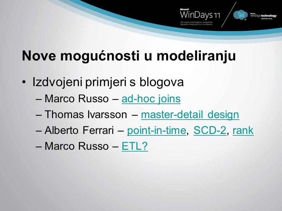 Nove mogućnosti u modeliranju Izdvojeni primjeri s blogova –Marco Russo – ad-hoc joinsad-hoc joins –Thomas Ivarsson – master-detail designmaster-detai
