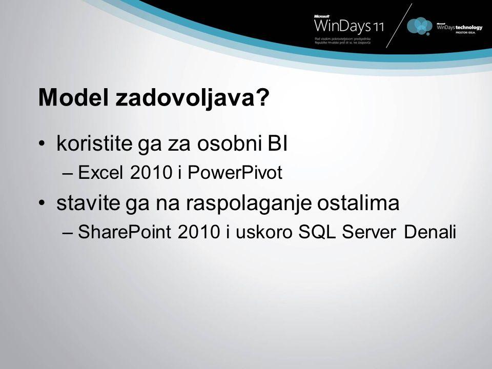 Model zadovoljava? koristite ga za osobni BI –Excel 2010 i PowerPivot stavite ga na raspolaganje ostalima –SharePoint 2010 i uskoro SQL Server Denali