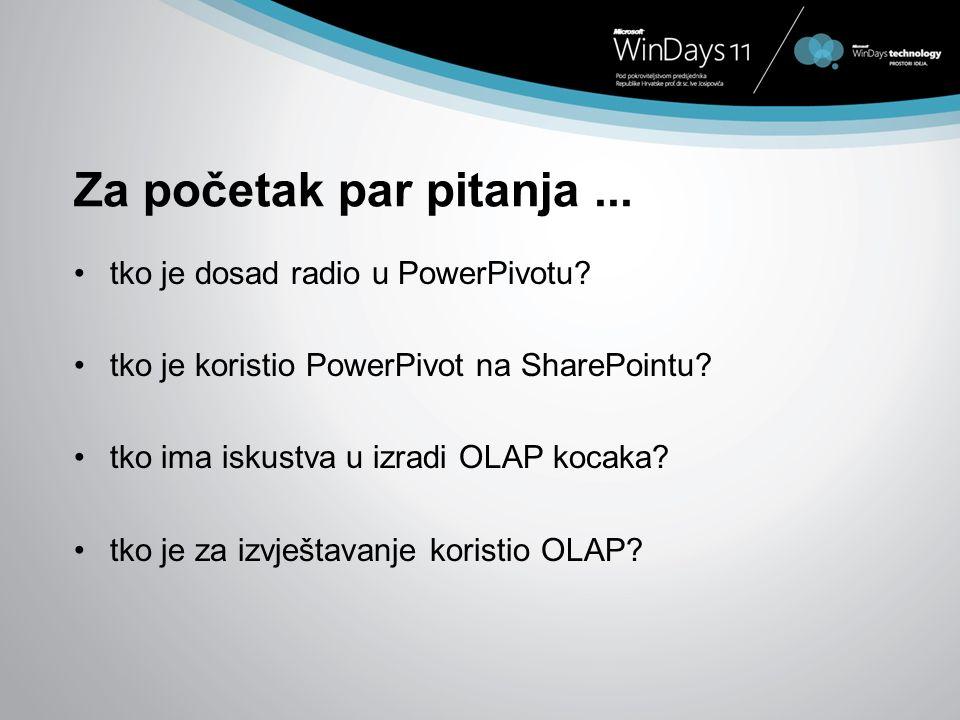 Za početak par pitanja... tko je dosad radio u PowerPivotu? tko je koristio PowerPivot na SharePointu? tko ima iskustva u izradi OLAP kocaka? tko je z