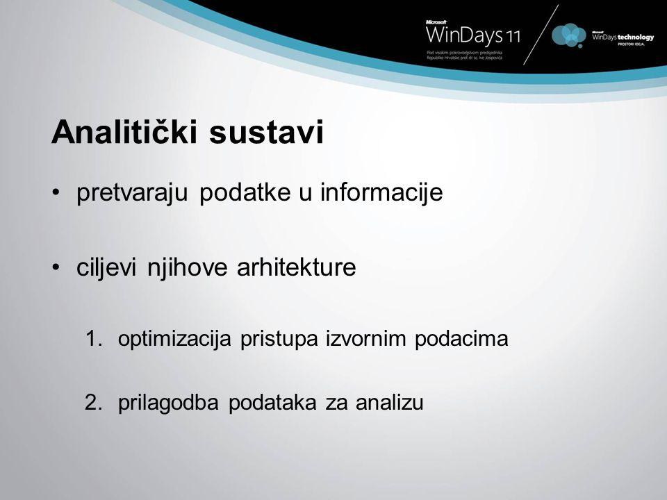 Analitički sustavi pretvaraju podatke u informacije ciljevi njihove arhitekture 1.optimizacija pristupa izvornim podacima 2.prilagodba podataka za ana