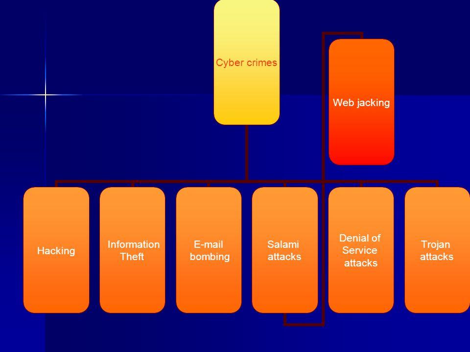 Cyber crimes Hacking Information Theft E-mail bombing Salami attacks Web jacking Denial of Service attacks Trojan attacks