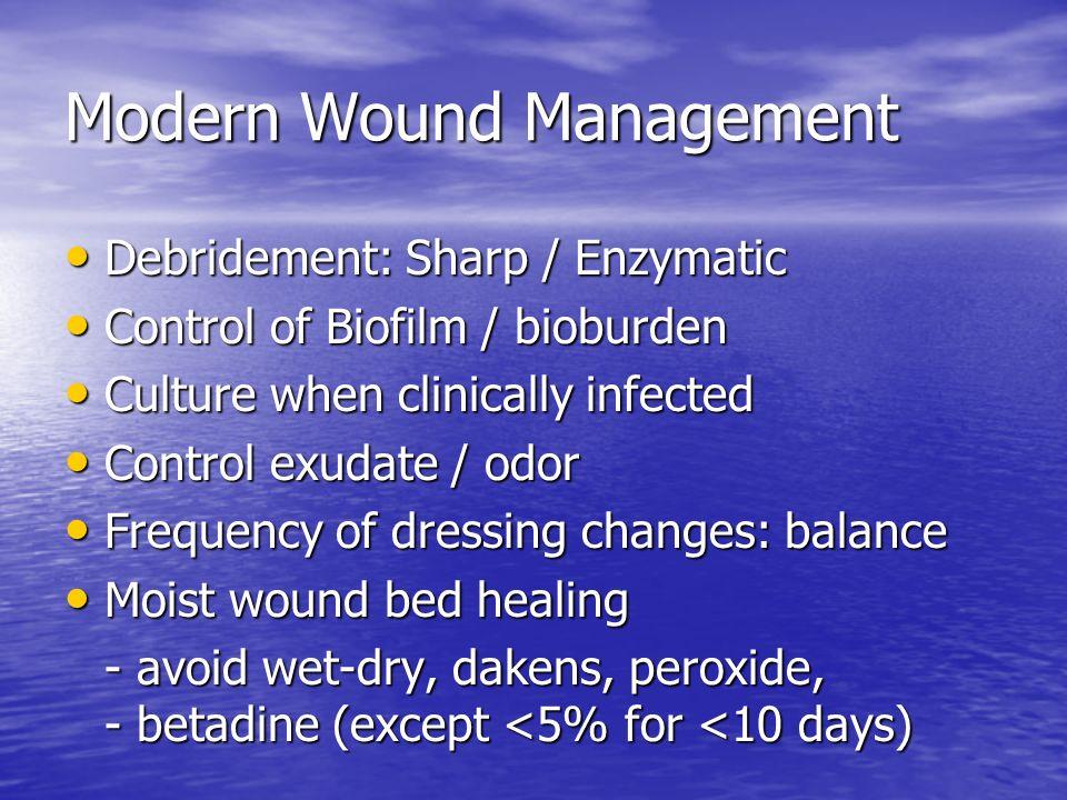 Modern Wound Management Debridement: Sharp / Enzymatic Debridement: Sharp / Enzymatic Control of Biofilm / bioburden Control of Biofilm / bioburden Cu