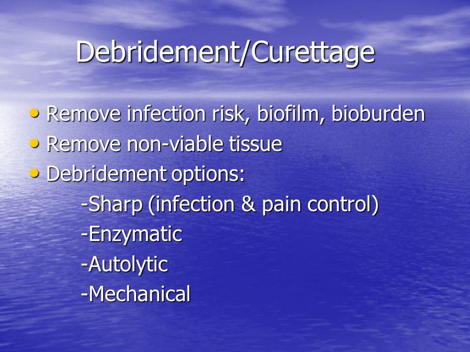 Debridement/Curettage Remove infection risk, biofilm, bioburden Remove infection risk, biofilm, bioburden Remove non-viable tissue Remove non-viable t