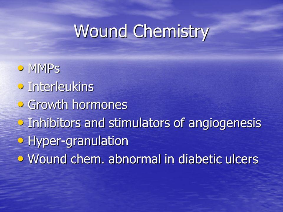 Wound Chemistry MMPs MMPs Interleukins Interleukins Growth hormones Growth hormones Inhibitors and stimulators of angiogenesis Inhibitors and stimulat