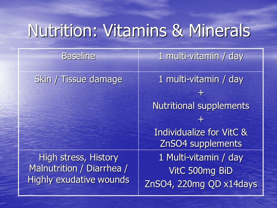 Nutrition: Vitamins & Minerals Nutrition: Vitamins & Minerals Baseline 1 multi-vitamin / day Skin / Tissue damage 1 multi-vitamin / day + Nutritional