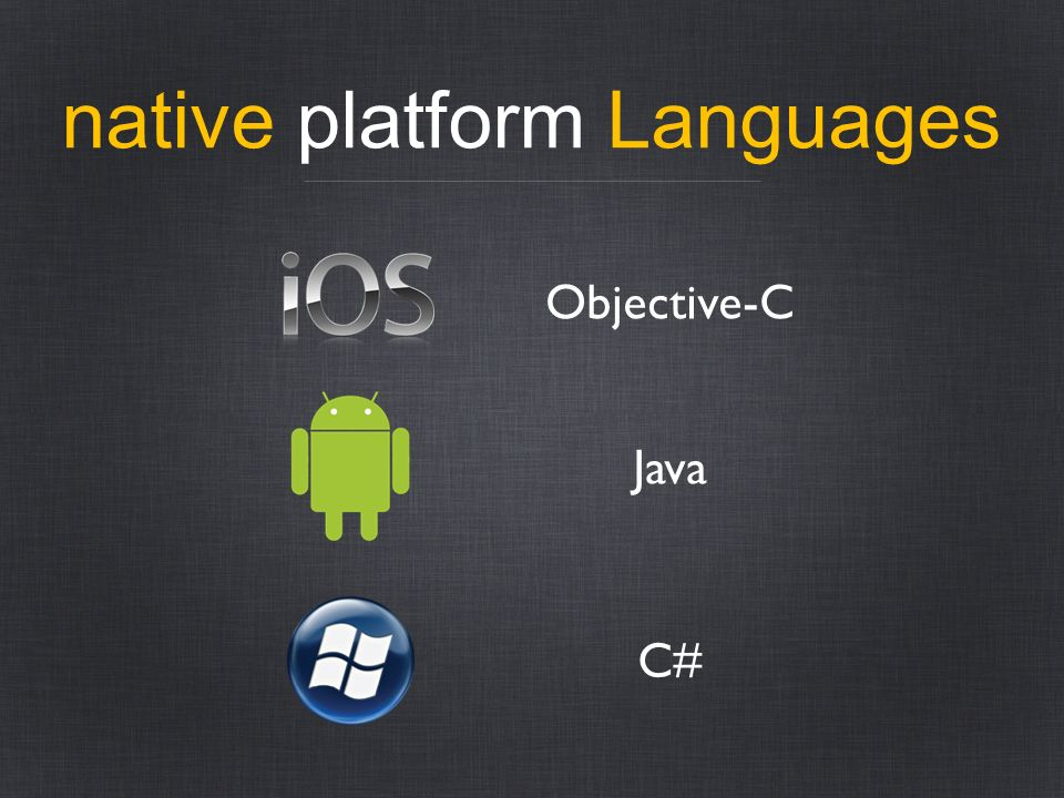 native platform Languages Objective-C Java C#