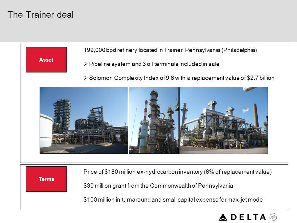 Criteria for purchasing a refinery Properly sized – large enough to make a material impact on the companys profitability but not larger than Deltas co