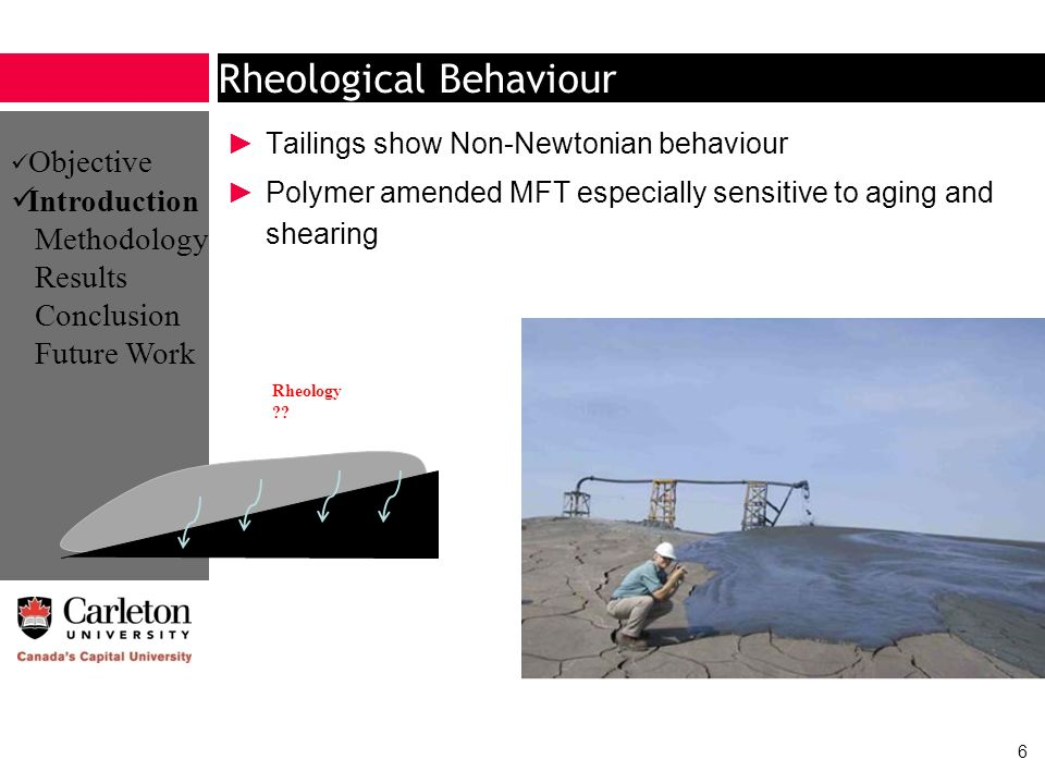 Rheological Behaviour Tailings show Non-Newtonian behaviour Polymer amended MFT especially sensitive to aging and shearing 6 Rheology ?? Objective Int