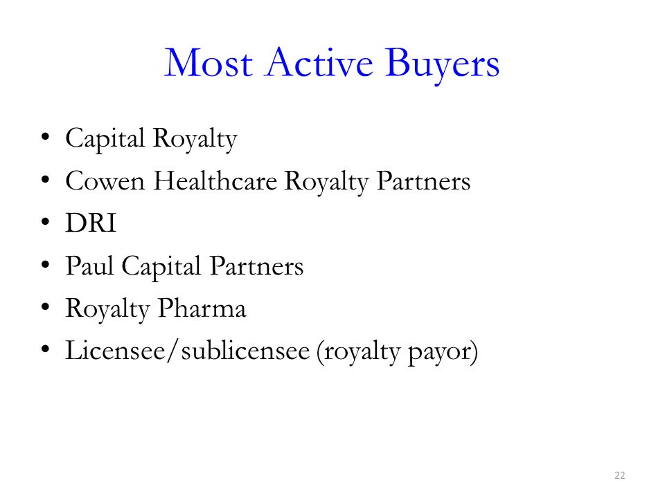 Most Active Buyers Capital Royalty Cowen Healthcare Royalty Partners DRI Paul Capital Partners Royalty Pharma Licensee/sublicensee (royalty payor) 22