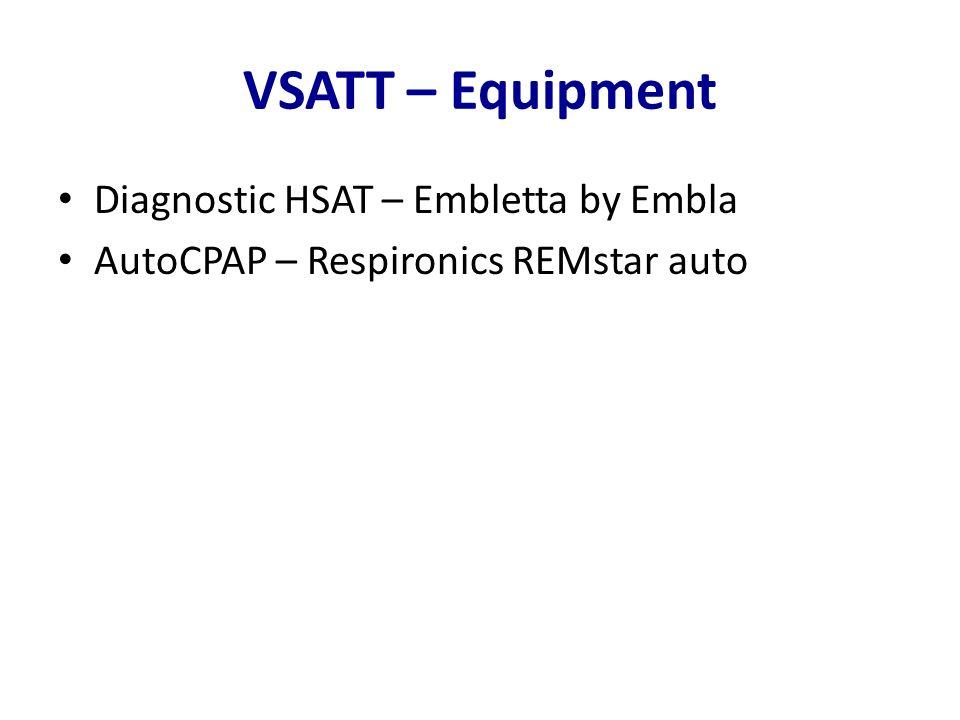 VSATT – Equipment Diagnostic HSAT – Embletta by Embla AutoCPAP – Respironics REMstar auto