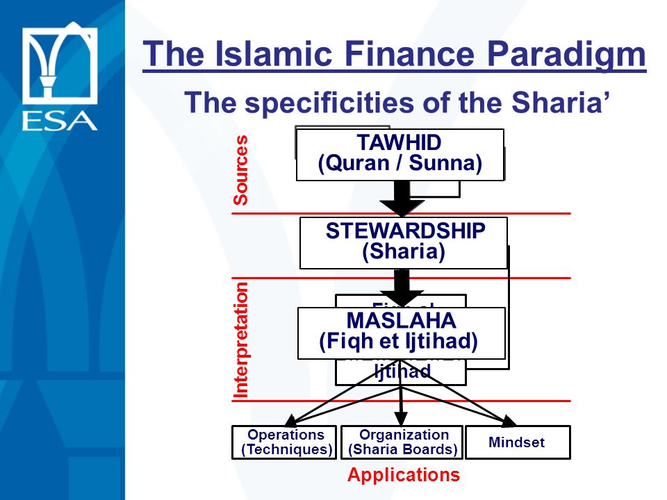 Fiqh al Mouamalat Ijtihad I n t e r p r e t a t i o n Sharia Quran Sunna S o u r c e s Operations (Techniques) Organization (Sharia Boards) Mindset Ap