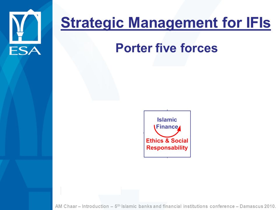 Strategic Management for IFIs Porter five forces AM Chaar – Introduction – 5 th Islamic banks and financial institutions conference – Damascus 2010.