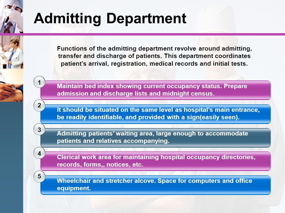 Admitting Department 1 2 3 Maintain bed index showing current occupancy status. Prepare admission and discharge lists and midnight census. It should b