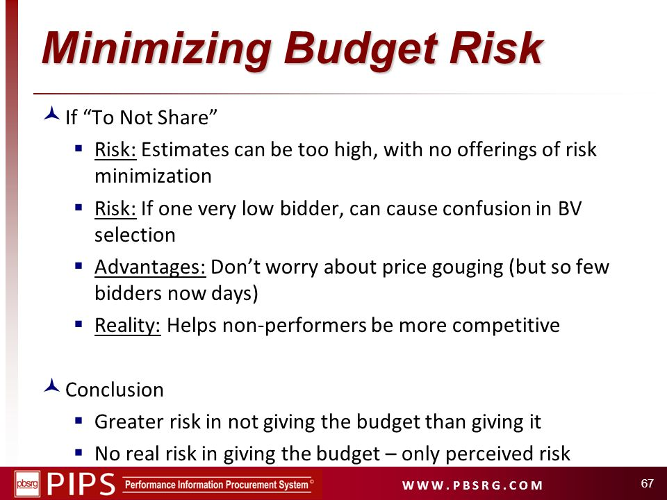 W W W. P B S R G. C O M 67 Minimizing Budget Risk If To Not Share Risk: Estimates can be too high, with no offerings of risk minimization Risk: If one