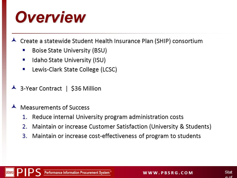 W W W. P B S R G. C O M Stat e of Idah o Overview Create a statewide Student Health Insurance Plan (SHIP) consortium Create a statewide Student Health