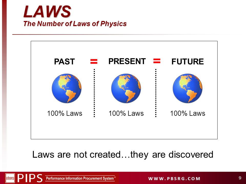 W W W. P B S R G. C O M 9 LAWS The Number of Laws of Physics = = Laws are not created…they are discovered 100% Laws PAST 100% Laws PRESENT 100% Laws F
