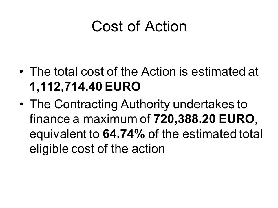 Cost of Action The total cost of the Action is estimated at 1,112, EURO The Contracting Authority undertakes to finance a maximum of 720, EURO, equivalent to 64.74% of the estimated total eligible cost of the action