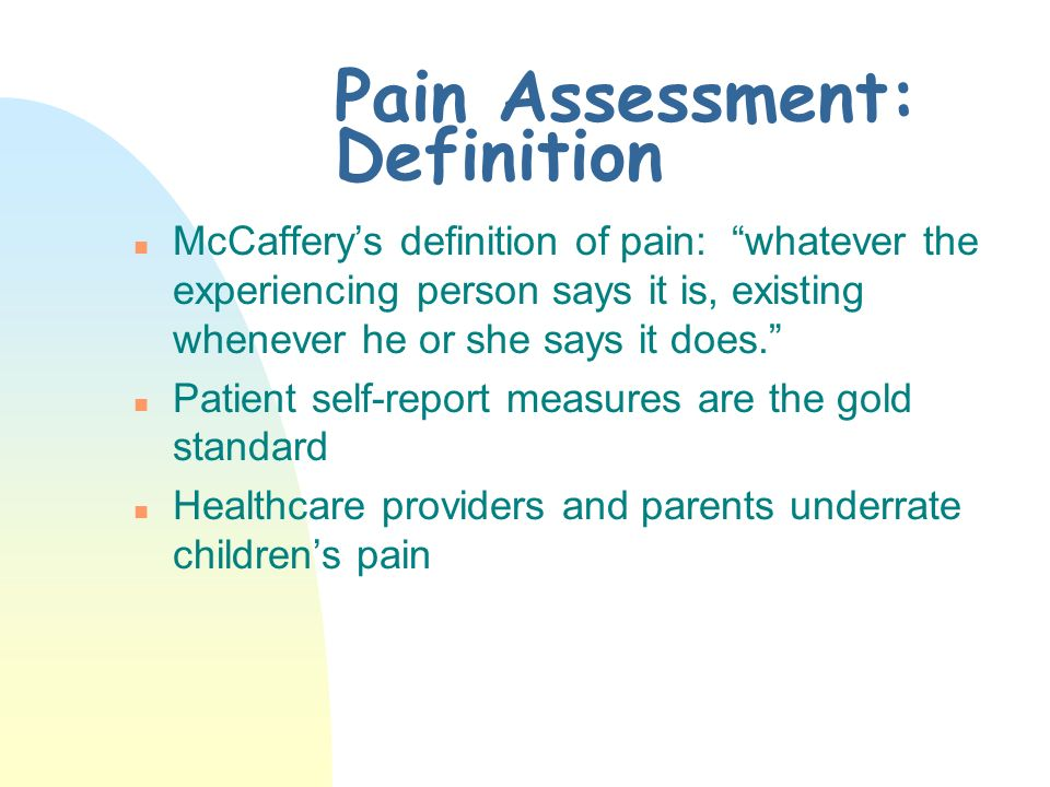 TJC Standards (Cont.) n Hospital commitment to pain management n Information about pain management provided to patient/families n Discharge plan for pain management
