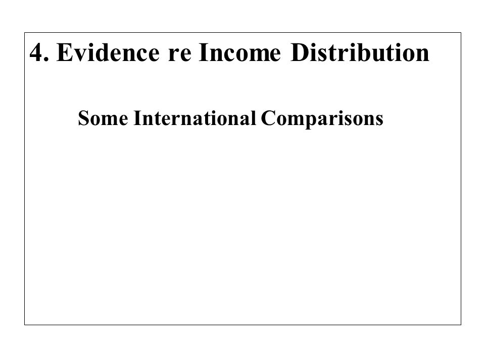 4. Evidence re Income Distribution Some International Comparisons