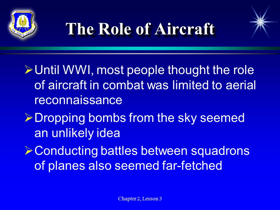 Chapter 2, Lesson 3 The Role of Aircraft Until WWI, most people thought the role of aircraft in combat was limited to aerial reconnaissance Dropping b