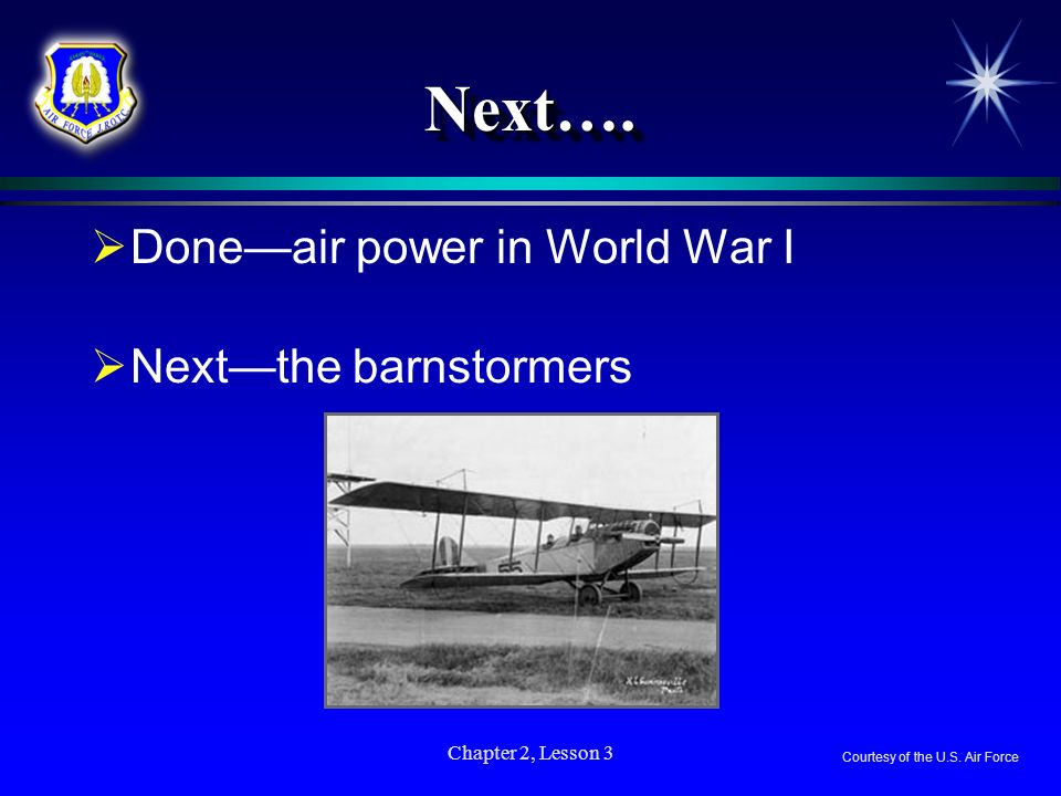 Chapter 2, Lesson 3 Next….Next…. Doneair power in World War I Nextthe barnstormers Courtesy of the U.S. Air Force