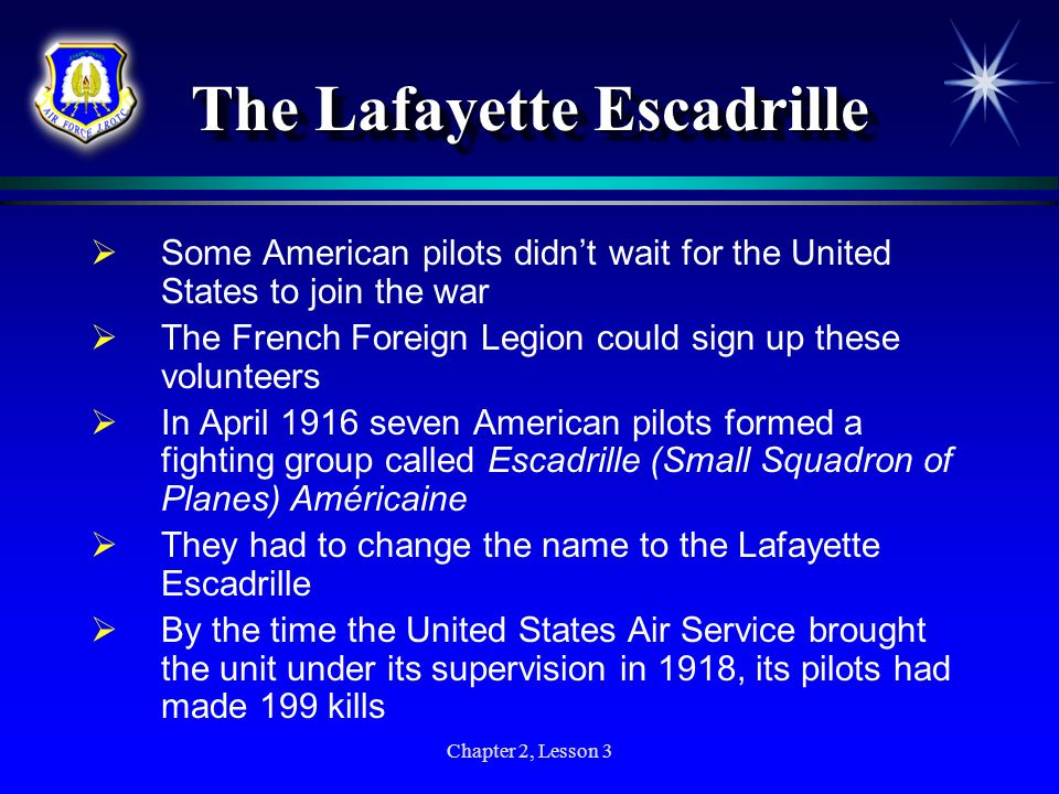 Chapter 2, Lesson 3 The Lafayette Escadrille Some American pilots didnt wait for the United States to join the war The French Foreign Legion could sig