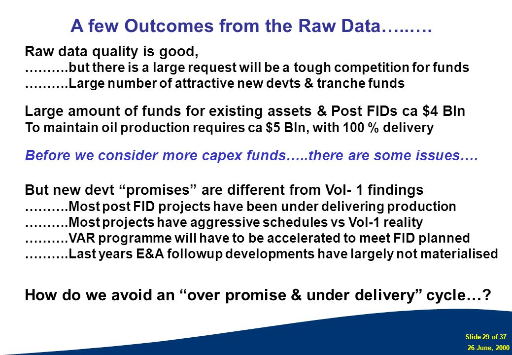 Slide 29 of 37 26 June, 2000 Raw data quality is good, ……….but there is a large request will be a tough competition for funds ……….Large number of attr