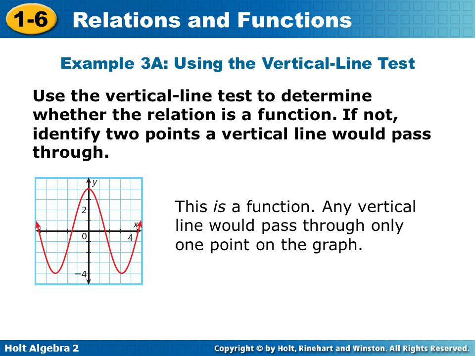 Holt Algebra 2 1-6 Relations and Functions Use the vertical-line test to determine whether the relation is a function. If not, identify two points a v