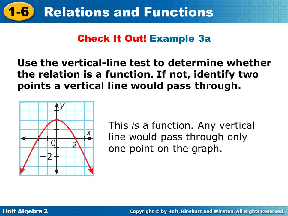 Holt Algebra 2 1-6 Relations and Functions Check It Out! Example 3a Use the vertical-line test to determine whether the relation is a function. If not
