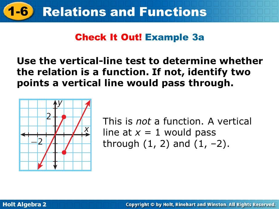 Holt Algebra 2 1-6 Relations and Functions This is not a function. A vertical line at x = 1 would pass through (1, 2) and (1, –2). Check It Out! Examp