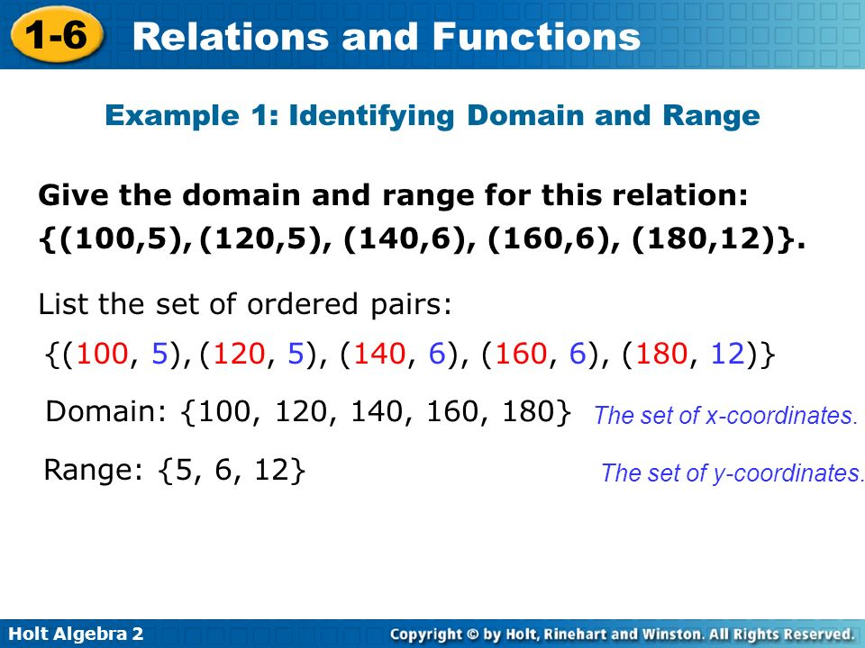 Holt Algebra 2 1-6 Relations and Functions Example 1: Identifying Domain and Range Give the domain and range for this relation: {(100, 5), (120, 5), (