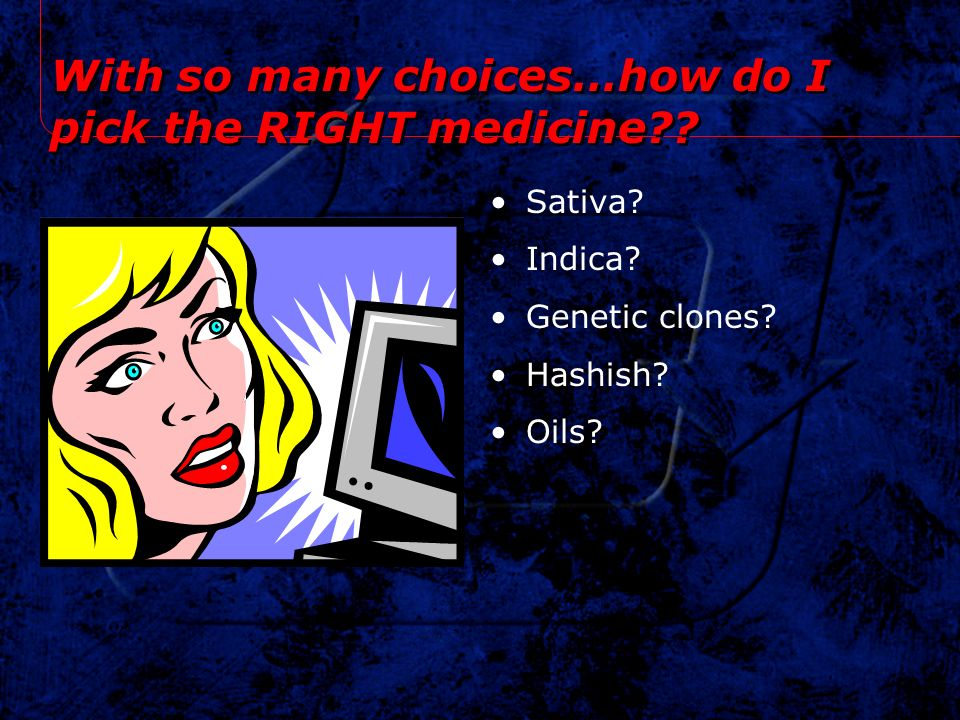 With so many choices…how do I pick the RIGHT medicine?? Sativa? Indica? Genetic clones? Hashish? Oils?