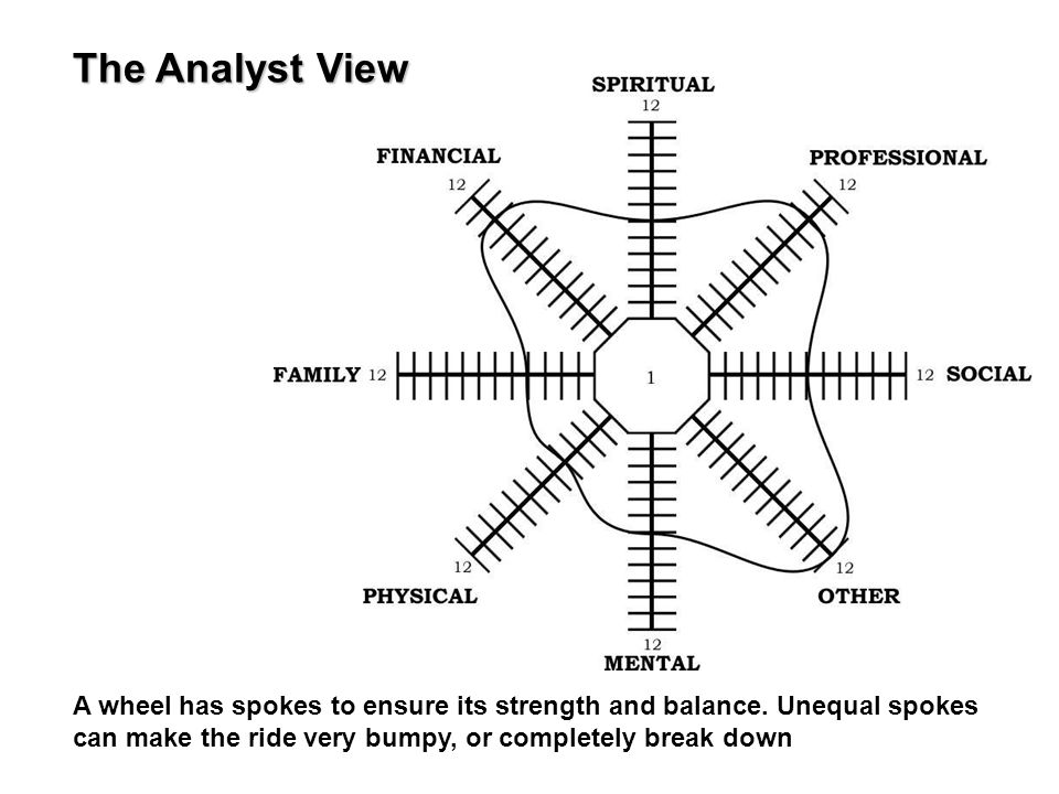 A wheel has spokes to ensure its strength and balance. Unequal spokes can make the ride very bumpy, or completely break down The Analyst View